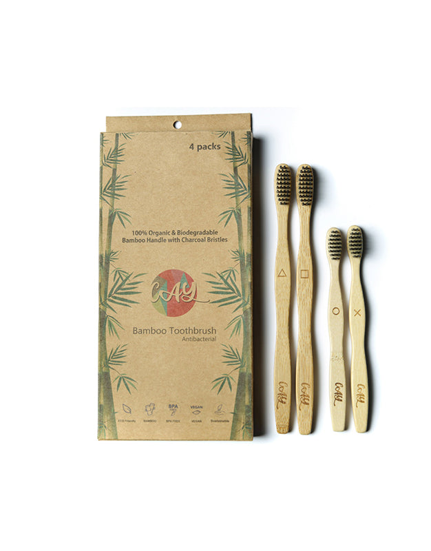 Bamboo Charcoal Tooth Brush Pack of 4 (2 Adults / 2 Kids)
