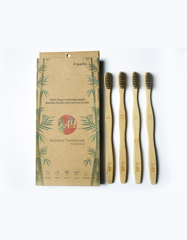Bamboo Charcoal Tooth Brush Pack of 4 ( 4 Adult )