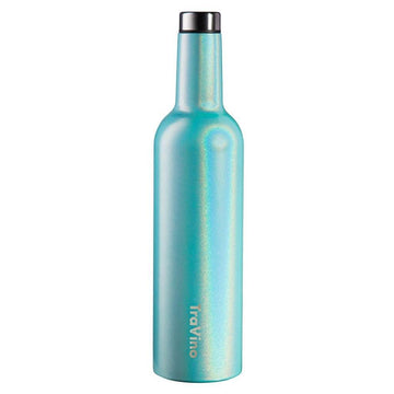 Insulated Wine Flask 750ml | Glitter Aqua