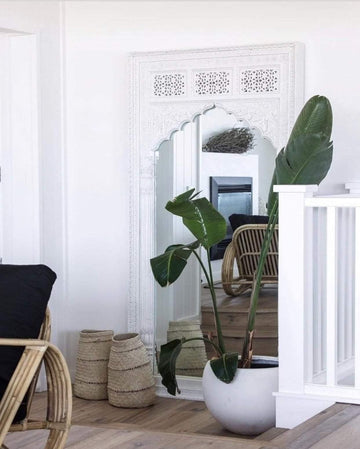 Large Boho Mirror | White