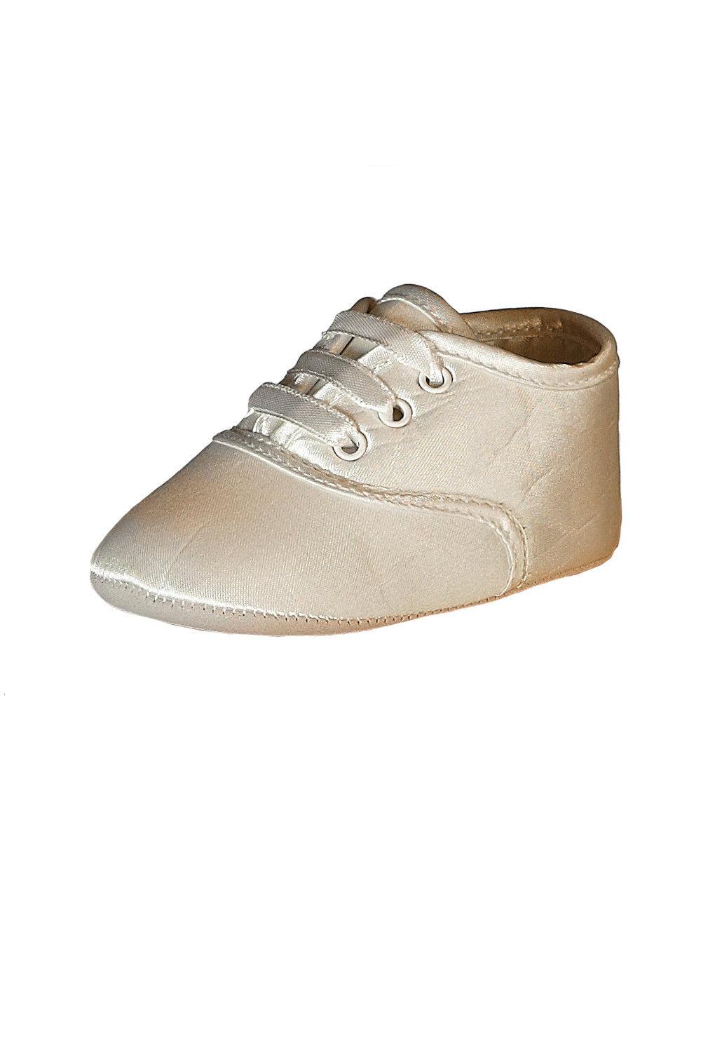 Gideon Silk - Lace Up Ivory Baby Shoe