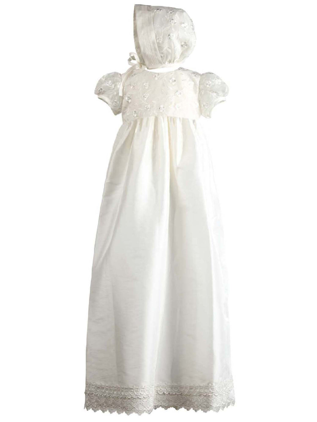 Nessa - Traditional Lace Bodice Christening Robe with Matching Bonnet