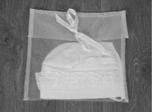 Load image into Gallery viewer, Zeynah - Ivory Mock Silk Christening Bonnet