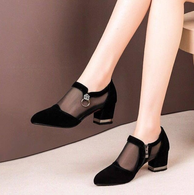 Zip Pointed Toe Shoes