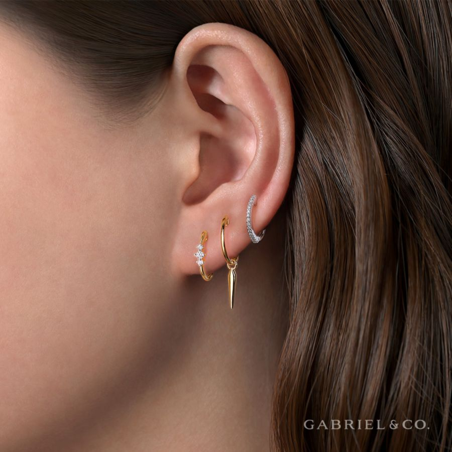 14K Yellow Gold Huggie Earrings with Spike Drop