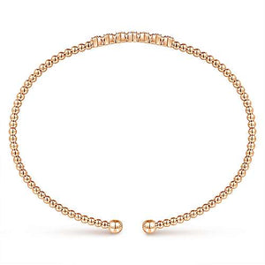 14K Gold Bujukan Bead Cuff Bracelet with Cluster Diamond Stations