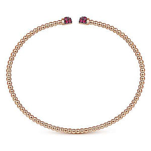 14K Rose Gold Bujukan Bead Cuff Bracelet with Ruby Pavé Caps