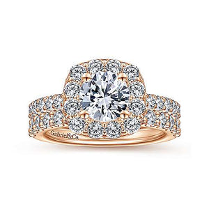 14K Gold Cushion Halo Round Diamond Engagement Ring