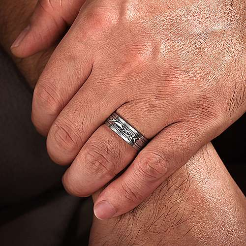14K White Gold 7mm - Diamond Cut Center Mens Wedding Band