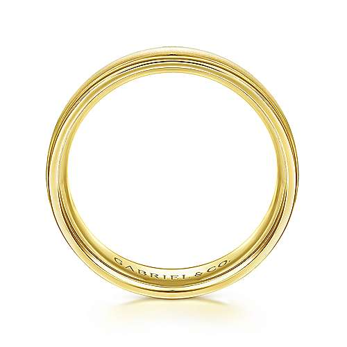 14K Yellow Gold 6mm - Sandblast Polished Edge Mens Wedding Band