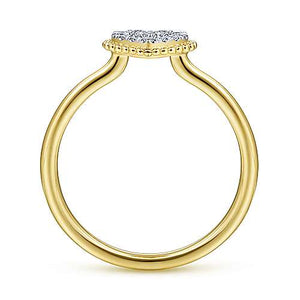 14K Yellow Gold Diamond Pavé Open Heart Ring