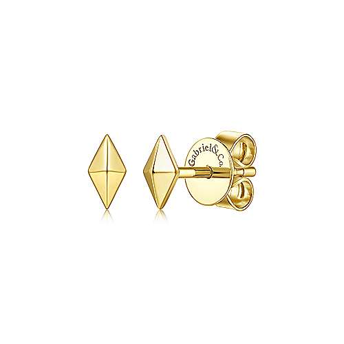 14K Yellow Gold Pyramid Kite Shape Stud Earrings