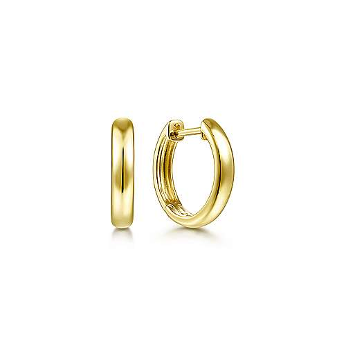 14K Yellow Gold Smooth Huggie Earrings