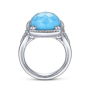 925 Sterling Silver Rock Crystal Turquoise Long Cushion Cut Ring