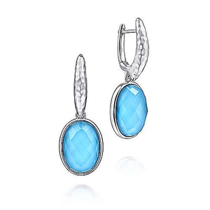 925 Sterling Silver Rock Crystal/Turquoise Oval Drop Earrings