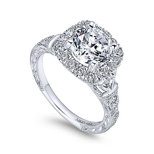 Vintage Inspired 18K White Gold Round Halo Diamond Engagement Ring