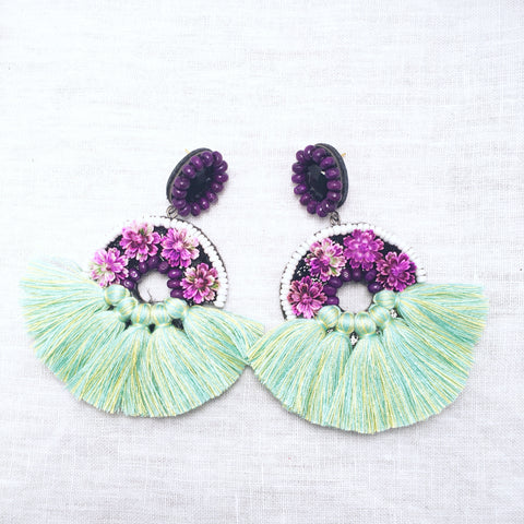 Klungsee Pink and Purple Earrings