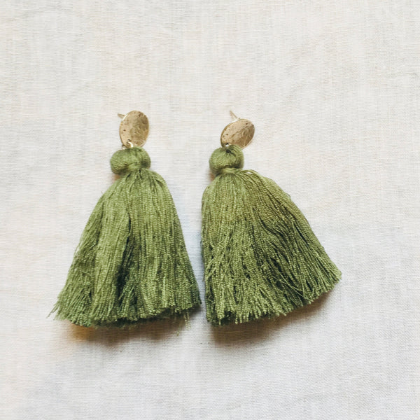 Tassel Earrings - Army Green