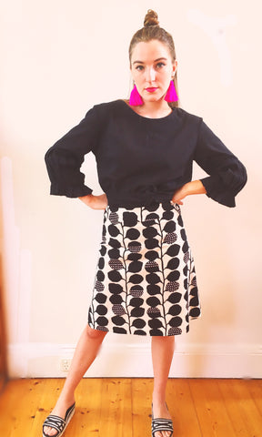 Black & White Ivy Pink A-Line Skirt