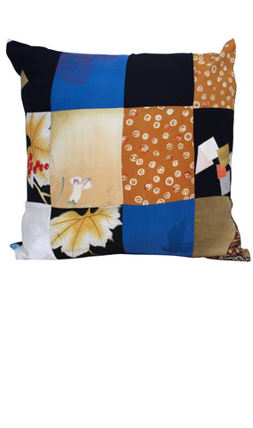 Navy Silk Cushion Cover