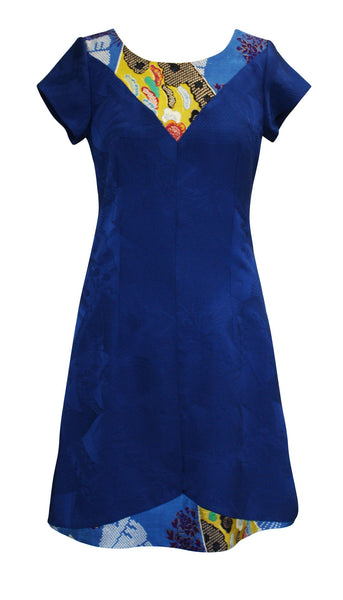 Blue Jomei Silk Dress