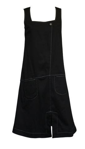 Black Pinafore with Japanese fabric lining