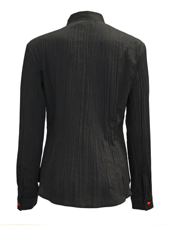 Joi Pleated Mandarin Collar Shirt
