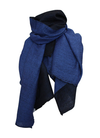 Large Navy Shibori Silk Scarf