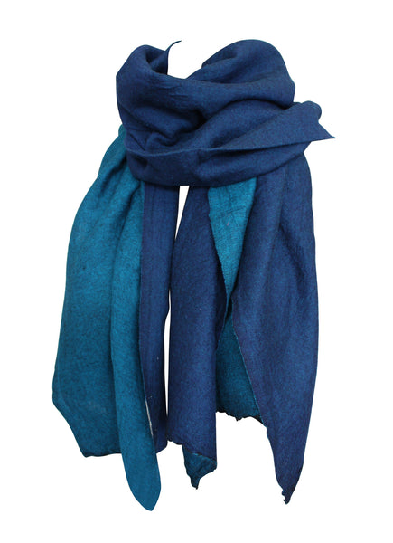 Turquoise Navy Reversible Wool Scarf