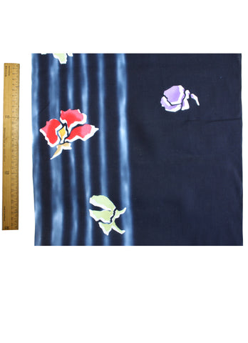 Navy Stripe Yukata Fabric