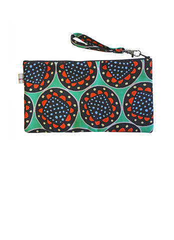 Green Flowers Pouch Purse
