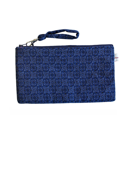 Navy Brocade Pouch Purse