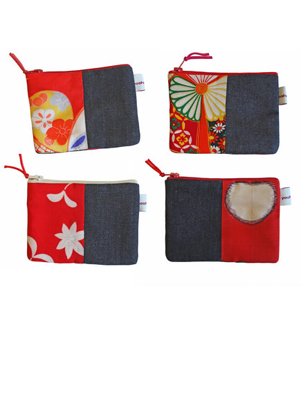 Daburu Red Varieties Denim Coin Purse