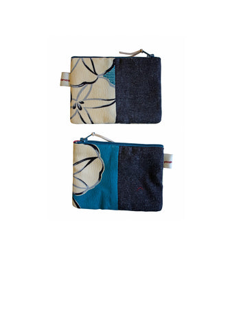 Daburu Turquoise Denim Coin Purse