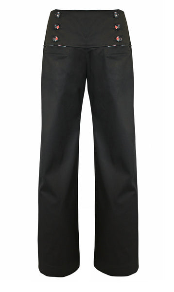 Fitto Black Stretch Cotton Pants