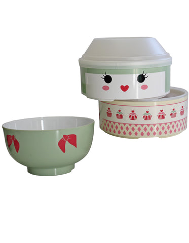 Kokeshi Lolita Bento Box with Green Bowl