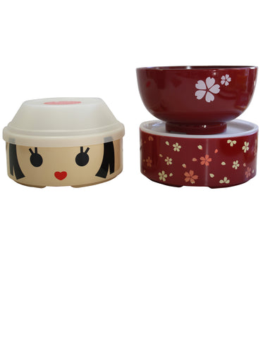 Blossom Kokeshi Bento Box with Cherry Bowl