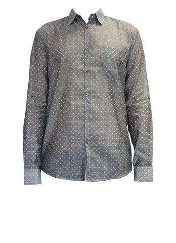 Polka Dot Grey Men's Pocket Shirt