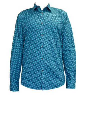 Blue Dots Cotton Men's Shirt