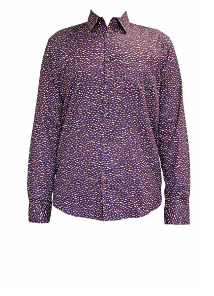 Purple Cotton Long Sleeve Men