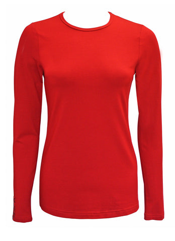 Red Long Sleeve T-Shirt with Kimono Tab