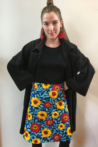 Red & Yellow Poppies A-line Skirt
