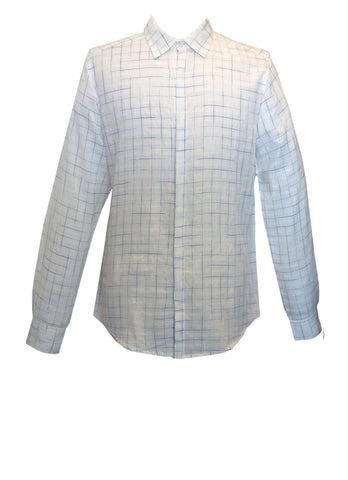 White with Fine Blue Check Men's Shirt