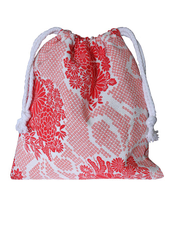 Red Shibori Print Toiletries Bag