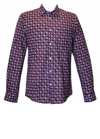 Burgundy Squares Men's Shirt