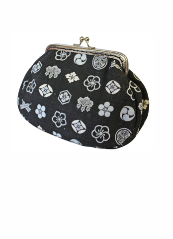 Black Crest Large Clip Purse