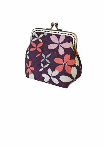 Purple Floral Small Clip Purse