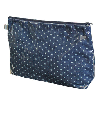 Large Indigo Polka Toiletries Bag