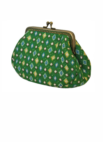 Green Diamonds Large Clip Purse