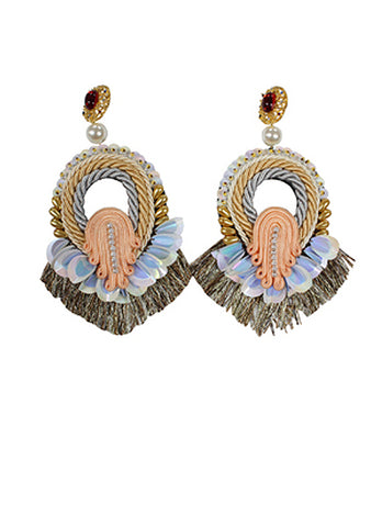 Ikat Semi CIrcle Earrings